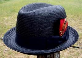 NEW Black Men's GODFATHER Straw HOMBURG Fedora Gangster Kid Rock n Roll Hat - $657,94 MXN