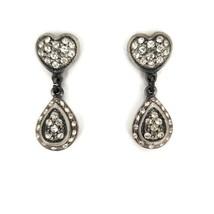 Vintage Silver Tone Black Faux Diamond Drop Dangle Earrings Hearts Teardrop  - $17.81