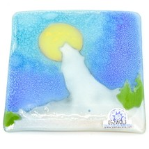 Fused Art Glass Howling Wolf Design Square Soap Dish Handmade Ecuador image 2