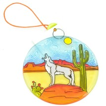 Desert Wolf Coyote Howling at Moon Fused Art Glass Ornament Handmade in Ecuador