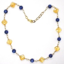 Silver necklace 925, Yellow, Citrine Faceted Quartz, Kyanite, Pearl Round image 2