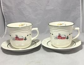 Pfaltzgraff Snow Village pattern  2 cups & saucers set  White Red Green - $7.91