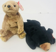 "Ty Pecan & Blackie Bear Beanie Babies 7"" Date Of Birth April 15 99 & July 15 94 - $21.99"