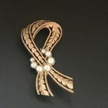 Vintage Trifari Signed Goldtone Feather Ribbon w Faux White Pearl Circle... - $16.69