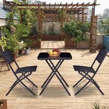 Square Table 2 Chairs Set Oudoor Patio 3 Pcs Bistro Sets Garden Folding ... - $103.48
