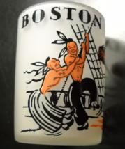 Hazel Atlas Shot Glass Boston Tea Party Frosted Glass Black Orange Illus... - $18.99