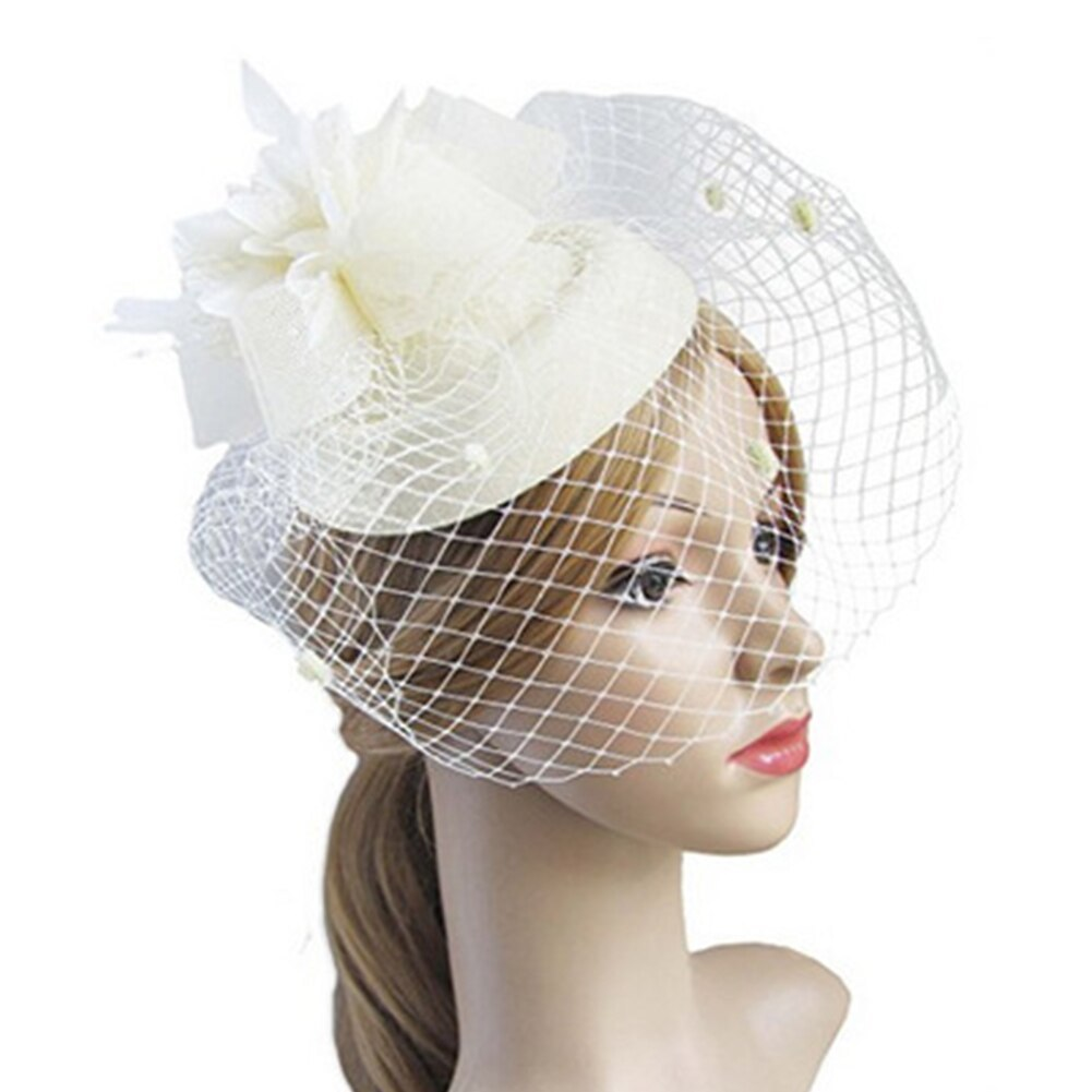 Primary image for Fascinator Hat Hair Clip Winter Embroidered Veil Women Cocktail Wedding Party Br