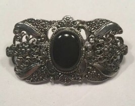 Vintage Antiqued Silver Tone Filigree Brooch with Black Cabochon Center  - $9.85
