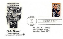 June 8, 1991 First Day of Issue, Postal Society Cover, Cole Porter, Comp... - $1.09