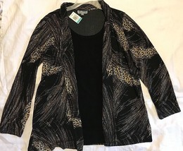 JM Collection Womens Black Gold Neutral Feather Print Layered Look Blouse Top 0X - $19.95