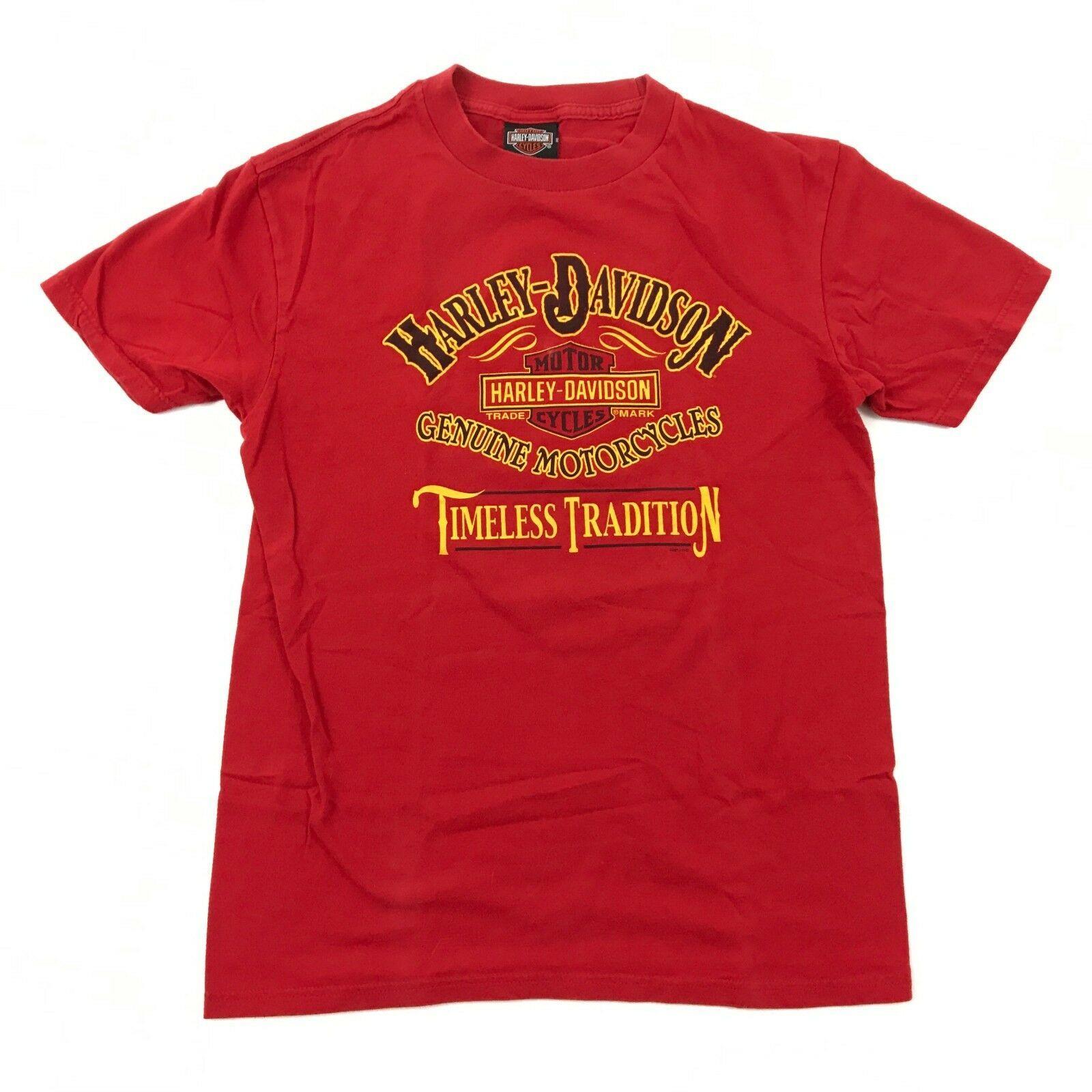 Harley Davidson Timeless Tradition Camicia Adulto Rosso Medio Maglietta Due Lati