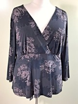 APOSTROPHE Plus Size 24/26 Brown Stretch Knit Floral Cross Front Back Ti... - $17.95
