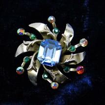 Vintage Coro Brooch Round Floral Large Corn Flower Blue AB Rhinestones Pin - $37.40