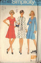 SIMPLICITY 6749 SZ 16 MISSES UNLINED CARDIGAN AND DRESS PATTERN 1974 - $3.90