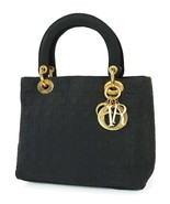 Authentic CHRISTIAN DIOR Black Quilted Nylon Lady Dior Handbag Purse #37777 - $494.10