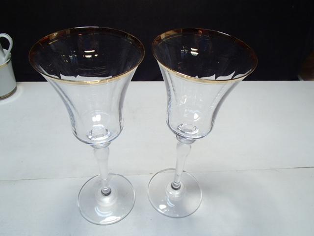 "2 Mikasa Jamestown Gold Goblets ~~ 9 1/8"" ~~~"