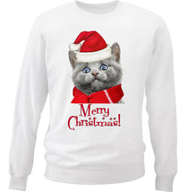 MERRY CHRISTMAS RUSSIAN BLUE CAT - NEW WHITE COTTON SWEATSHIRT - $30.65