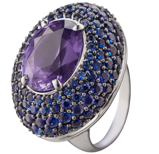 925 Sterling Silver Natural A+ Quality Amethyst And Blue Sapphire Gemstone Handc image 2