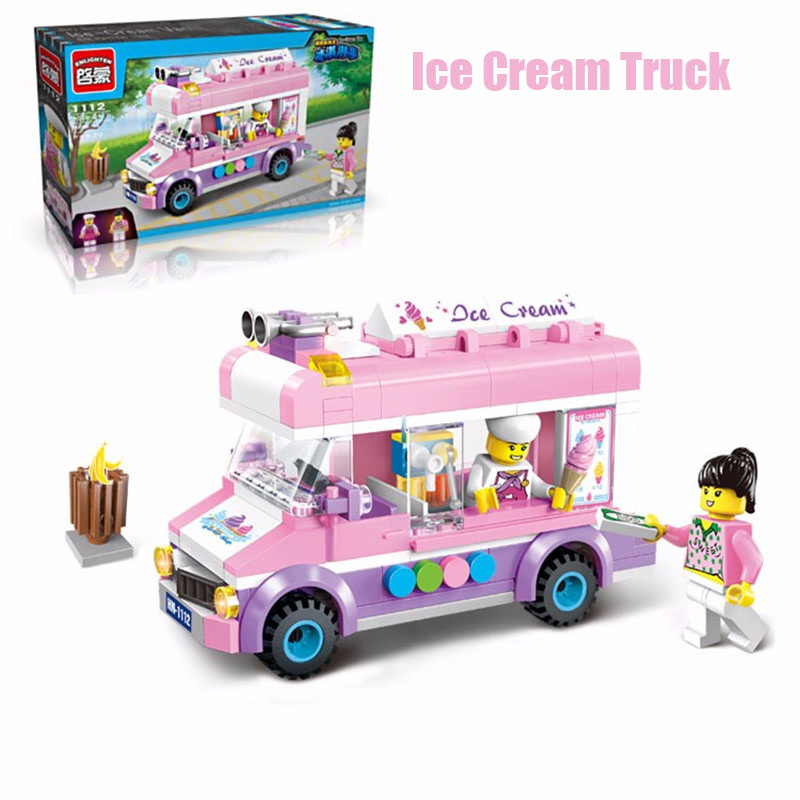 UT 213PC  City Movable Ice Cream Truck Van Model Minifigure Lego Building Blocks for sale  USA