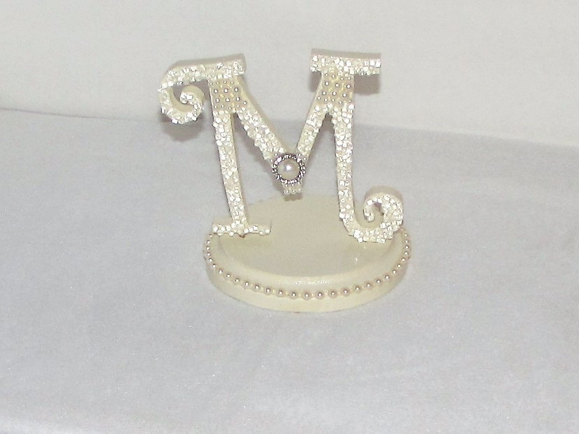 Wedding Cake Topper Initial M Ivory Pearl And 50 Similar Items