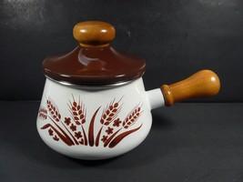 Vintage Mid Century Modern Levcoware Enamel Fondue Pot Wheat Pattern - J... - $19.99
