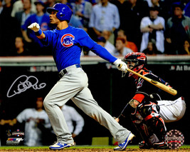 WILLSON CONTRERAS Signed Cubs 2016 World Series Swinging 8x10 Photo - SC... - $130.50