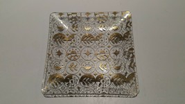 "Georges Briard Pressed Square Glass Snack Dish 5x5"" Leaf Harvest Pattern... - $11.88"