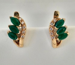 Earring yellow gold 19k zirconia green white leaf design - $360.36