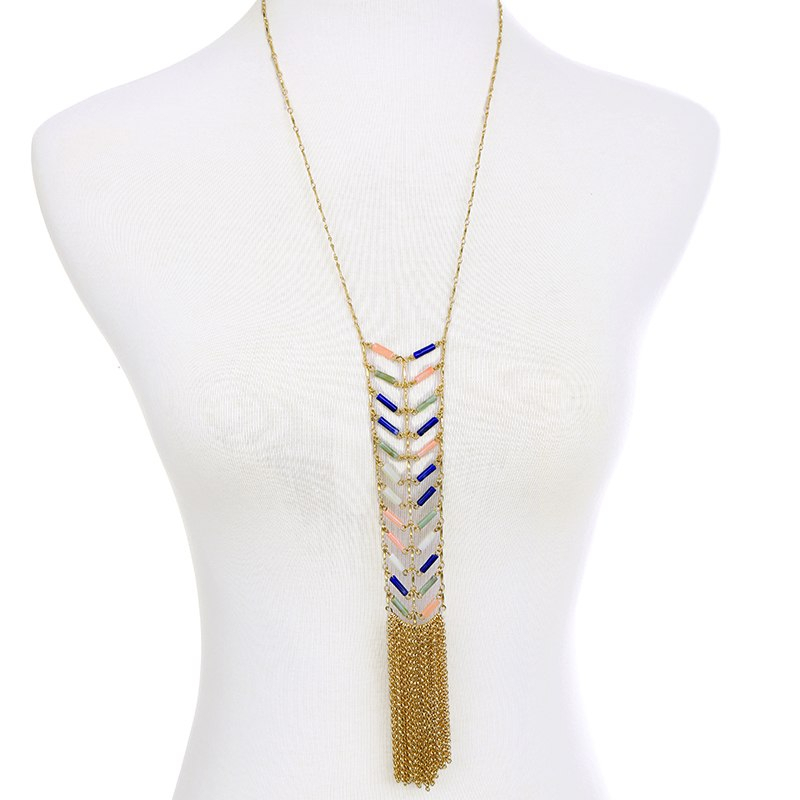 New long colorful metal tassel necklaces pendants from indian vintage accessories women bijoux 2
