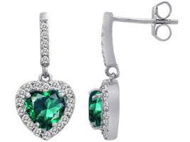 2.99CT Women's Fancy Halo Emerald Heart Drop Dangling Earrings 925 Silver - $39.59