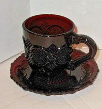 Vintage  Ruby Red Avon Cape Cod Coll. Boxed Cup & Saucer Set - $8.90