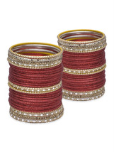 Lacquer Glass Wedding Bangles for women Red Cut... - $42.00