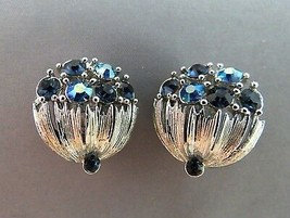 VTG Lisner Rhinestone Earrings Blue AB Flower Basket Silver Rhodium Text... - $29.69