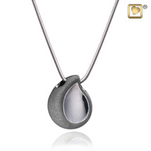 TearDrop Ruthenium Plated 925 Silver 2-Tone Cremation Pendant Urn with chain - $193.50