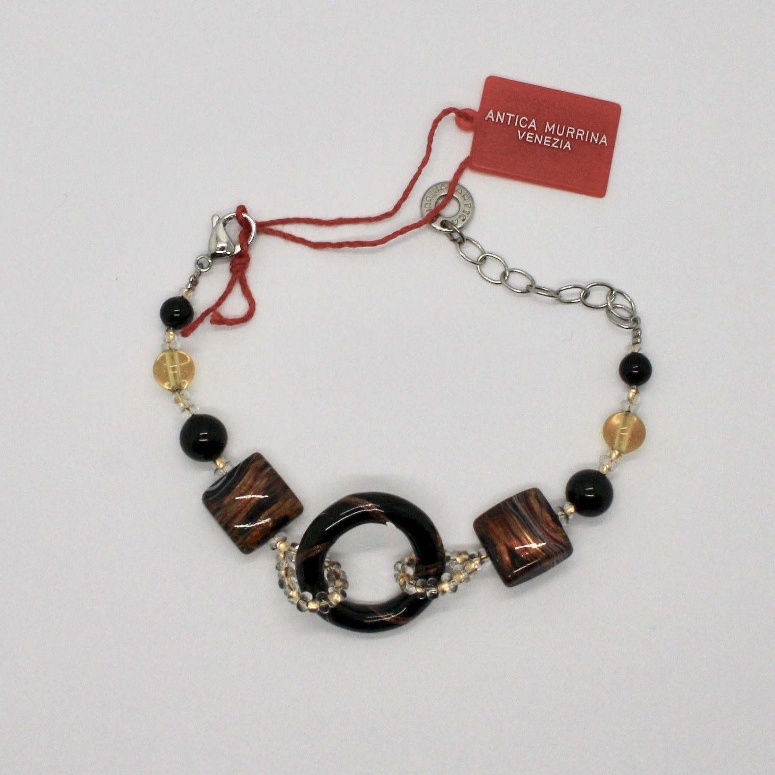 ANTICA MURRINA VENEZIA BRACELET WITH MURANO GLASS BROWN BEIGE BLACK BR567A14