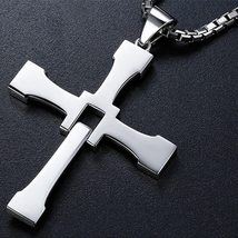 Fast and Furious 8 Cross Necklace Stainless Steel Necklace for Men Dominic Toret image 2