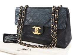 Auth CHANEL Black Quilted Lambskin Leather Chain Shoulder Maxi Flap Bag ... - $2,250.00
