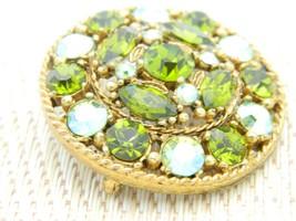 Green Aurora Borealis Rhinestone Medallion Gold Tone Vintage Brooch Pin image 2