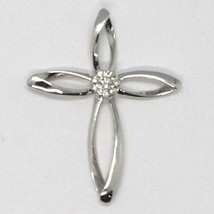 PENDENTIF CROIX OR BLANC 750 18K, DIAMANTS, FLEUR, PÉTALES, MADE IN ITALY image 2