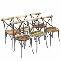 vidaXL Solid Reclaimed Wood Dining Chairs Set of 2/4/6 Cafe Kitchen Cros... - $194.99