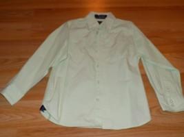 Boy's Size 6 Arrow Mint Green White Pin Striped Long Sleeve Button Up Sh... - $14.00