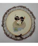 """Indian Children in Canoe Finished Framed Cross Stitch 8"""" Hoop Precious M... - $14.50"""