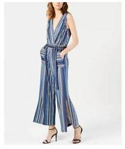 Monteau Los Angels  Petite Striped Wide-Leg Jumpsuit Blue Stripe PXL NEW - $37.99