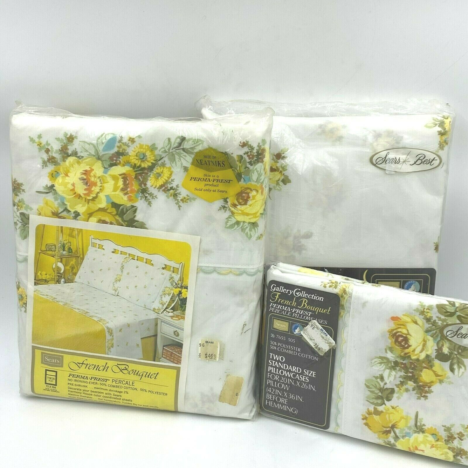 Primary image for Vintage Sears Twin Flat Fitted Sheet Set French Bouquet Yellow Floral Percale K8