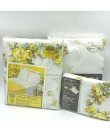 Vintage Sears Twin Flat Fitted Sheet Set French Bouquet Yellow Floral Pe... - $79.95