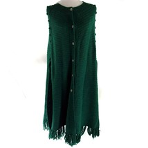 Vintage Handmade Poncho Cape Green Knit Fringe Silver Buttons Duster - $39.60