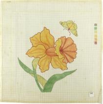 Vintage 70's Palm Beach Hand Painted Needlepoint Wild Flower Weigela - $24.35