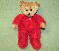 "13"" Sugar Loaf Teddy Bear Fuzzy Red Pajamas Stuffed Animal Tan Plush Lovey Toy - $19.64"