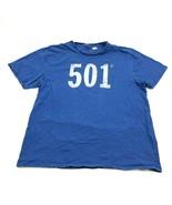 LEVI'S 501 Shirt Men's Size XXL 2XL Short Sleeve Blue White Logo Big Gra... - $14.27