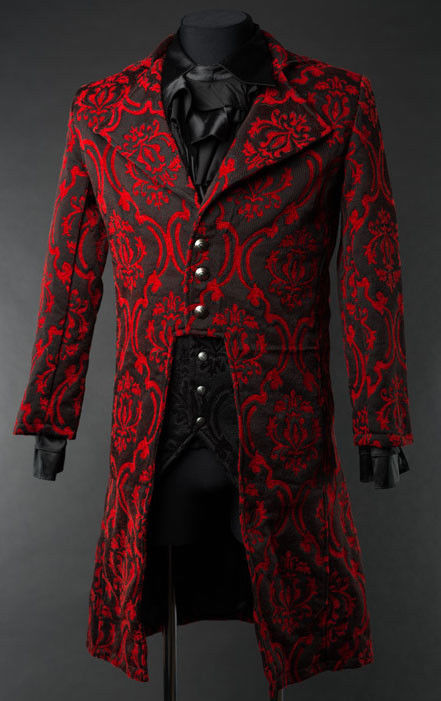 Primary image for NWT Men's Black Red Brocade Victorian Goth Vampire Tailcoat Suit Jacket